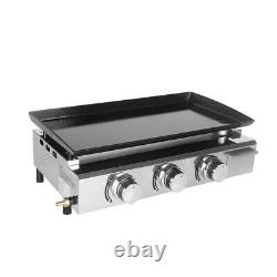 LPG Gas Plancha 3 Burner BBQ Griddle Barbecue Grill Enameled Cast Plate 67x34cm