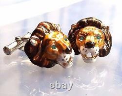 Lion Cufflinks, Sterling Silver, Enamel, Topaz. G. Daniloff&co