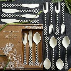 MACKENZIE CHILDS LOT OF 2 x 12 PIECE SET(24) COURTLY CHECK ENAMELED FLATWARE NEW