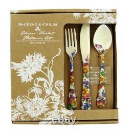 Mackenzie Childs Set Of 2 X 12 Piece Set Flower Market Enameled Flatware New Box