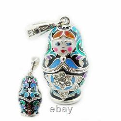 Matryoshka Enamel Russian Doll Pendant Sterling Silver 925 & Enameled