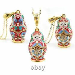 Matryoshka Nesting Doll Pendant Sterling Silver 925 Gold Plated & Enamel Red