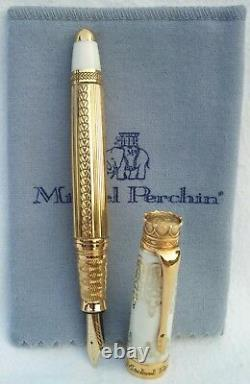 Michel Perchin IMPERIAL Fountain Pen White Enamel Gold #66/88 Rare Hard to Find