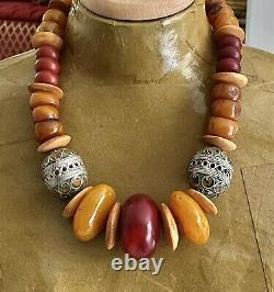 Moroccan Tagmoute Berber enameled eggs with African Amber Handmade New necklace