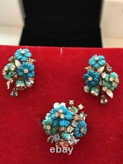 NEW SET Russian Earrings Ring Rose gold plated Silver turquoise spinel flower