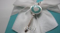 NEW Tiffany & Co. Blue Enamel Heart Key Charm Pendant Sterling Silver 925