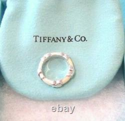NEW Tiffany & Co Sterling Silver Signature X White Enamel Stacking Band Ring 4