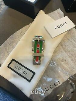 NIB Authentic GUCCI Sterling Silver Red Green Enamel Money Clip Mens Accessory