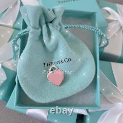NWB Tiffany&co Return to Tiffany Sterling Silver Pink Heart Tag Charm Necklace