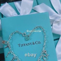 NWB Tiffany&co TCO Key Lock Blue Heart Pendant Charm Bracelet