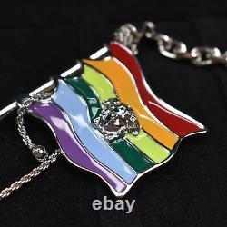 NWT $395 Versace Medusa Logo Rainbow Flag Metal Enamel Keychain Ring AUTHENTIC