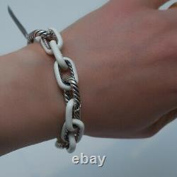 NWT DAVID YURMAN 12.5mm Madison Silver White Enamel Bracelet Size Medium