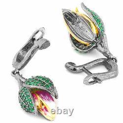 Natural Tsavorite Garnet Rose Design Hand-enameled Handmade Silver 925 Earring
