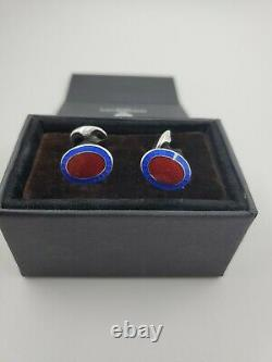 New Deakin and Francis Sterling Silver Red & Royal Blue Enamel Oval Cufflinks