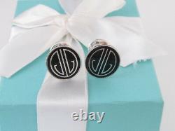 New Tiffany & Co Silver Black Enamel Ziegfeld Cufflinks Cuff Link Links