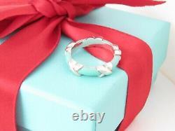 New Tiffany & Co Silver Blue Enamel Signature Band Ring Size 6