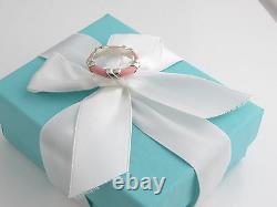 New Tiffany & Co Silver Pink Enamel Signature X Stacking Ring Band Size 5.5