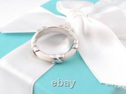 New Tiffany & Co Silver White Enamel Signature X Stacking Ring Band Size 10