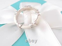 New Tiffany & Co Silver White Enamel Signature X Stacking Ring Size 9