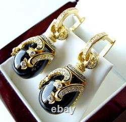 OUTSTANDING EARRINGS MADE OF STERLING SILVER 925 ENAMEL with GENUINE ONYX