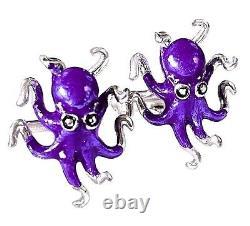 Octopus Cufflinks, Enamel, Sterling Silver. G. Daniloff&co