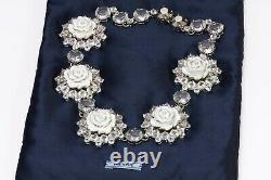 PRADA Spring 2012 Silver Tone White Enamel Crystal Rose Collar Necklace