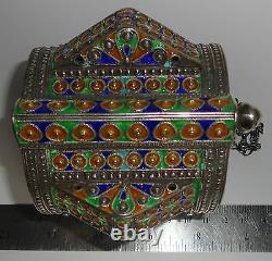 Pair HUGE Silver Enamel Moroccan Berber Ethnic Tribal Spike BRACELETS- 730 grams