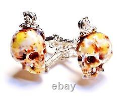 Pirate Skulls Cufflinks, Silver, Horn, Enamel, Topaz. G. Daniloff&co
