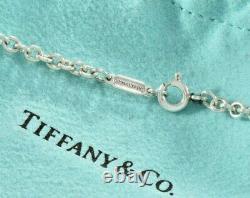 Please Return Tiffany & Co Silver Blue Enamel Heart Pendant 19.5 XL Necklace
