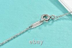 Please Return To Tiffany & Co Silver Blue Heart Tag Enamel Pendant Necklace Box