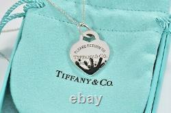Please Return To Tiffany & Co Silver Heart Black Enamel Splash 16 Necklace