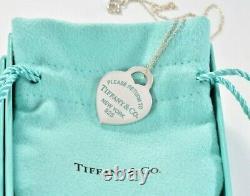 Please Return To Tiffany & Co Silver Heart Blue Enamel Letters 16 Necklace Rare