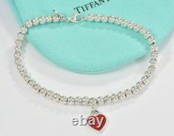 Please Return To Tiffany & Co Silver Red Enamel Heart Charm Bead Bracelet 7