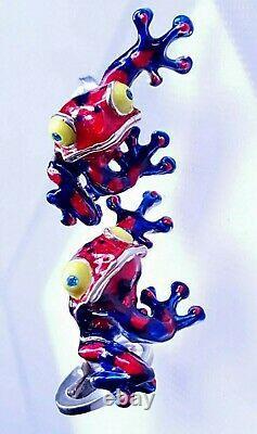 Poison Frog Cufflinks, Sterling Silver, Enamel, Topaz. G. Daniloff&co