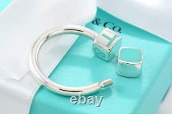 RARE Tiffany & Co. Silver Blue Enamel T & CO Letters Cube Key Ring Key Chain
