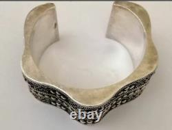 Rare Handmade Sterling Silver Heavy Berber Tuareg Cuff Bracelet Wave Bangle 110g