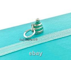Rare Tiffany & Co Snow Hat Enamel w Oval Clasp Love Charm Silver Christmas Gift