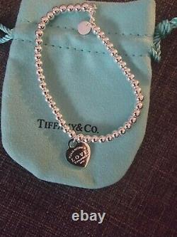 Return To Tiffany & Co Blue Enamel Heart Tag Bead Ball Silver Bracelet 16.5cm
