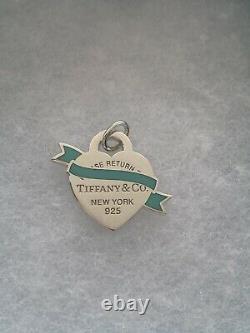 Return To Tiffany & Co. Silver Blue Heart Banner Tag Enamel Pendant