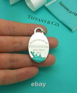 Return to Tiffany & Co. LARGE Silver Blue Enamel Splash Oval Tag Charm Pendant
