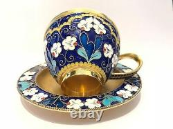 Russian Silver And Enamel Cup Ans Saucer