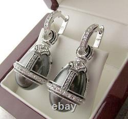 SALE! FASCINATING EARRINGS handmade of STERLING SILVER 925 BLACK PEARL