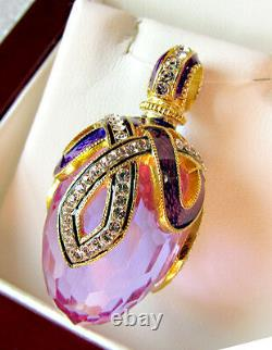 SALE! GORGEOUS RUSSIAN STERLING SILVER and 24K AMETHYST ENAMELED EGG PENDANT