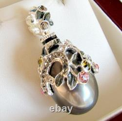 SALE! LOVELY RUSSIAN ENAMEL EGG PENDANT STERLING SILVER 925 with GENUINE PEARL