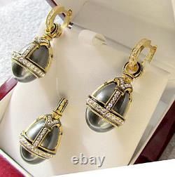 SALE! SUPERB EGG PENDANT & EARRINGS SET SILVER 925and 24K GOLD with BLACK PEARL