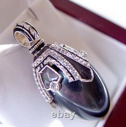 SALE! SUPERB RUSSIAN EGG PENDANT STERLING SILVER 925 with BLACK PEARL and ENAMEL