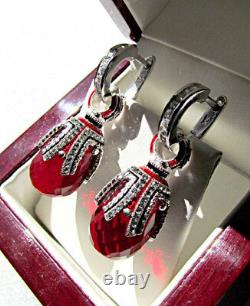 STUNNING HANDMADE OF SOLID STERLING SILVER 925 EARRINGS with GARNET and ENAMEL