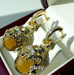Sale! Beautiful Earrings Handmade Of Sterling Silver 925 Enamel Whiskey Topaz