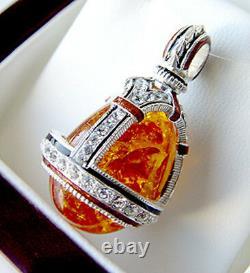 Sale! Genuine Amber Outstanding Sterling Silver 925 Russian Egg Pendant Enamel
