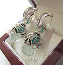 Sale! Stunning Russian Aquamarine Made Of Solid Sterling Silver 925 Earrings